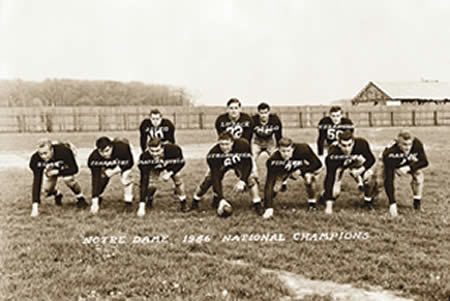 Notre Dame 1946 national champions; photo from University of Notre Dame Archives