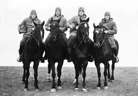 Notre Dame's Four Horsemen; photo from University of Notre of Notre Dame Archives