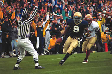 Jeff Burris scores against FSU in 1993; photo from University of Notre Dame Archives.