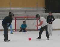 Tara Hunt in a rare moment where she's on her feet during broomball