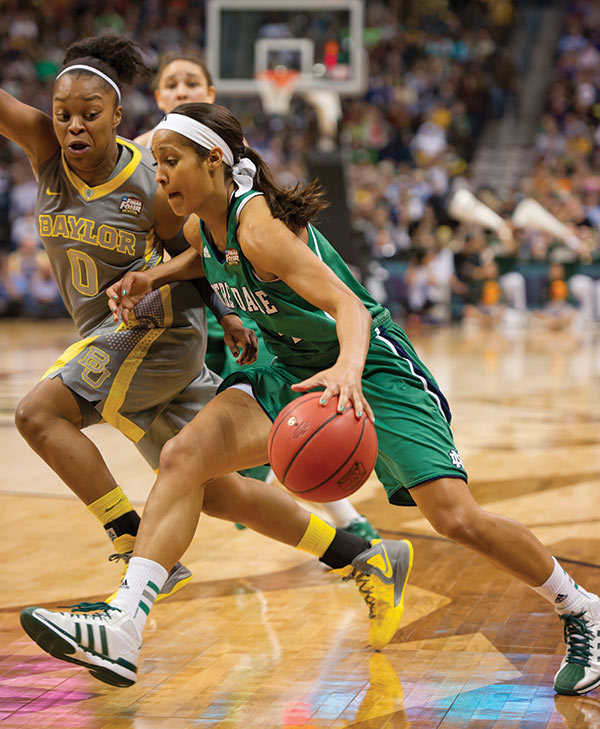 Skylar Diggins playing in the national championship game against Baylor University