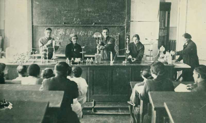 Rusudana (second from left) with colleagues and students, Tbilisi Polytechnic, ca. 1950