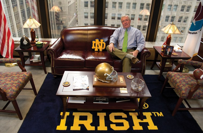 Jack Riley, special agent in charge of the Chicago DEA, heads up drug enforcement for the Midwest from an office that shows his affection for Notre Dame
