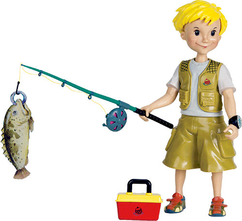 Boy with a fishing pole and fish toy.